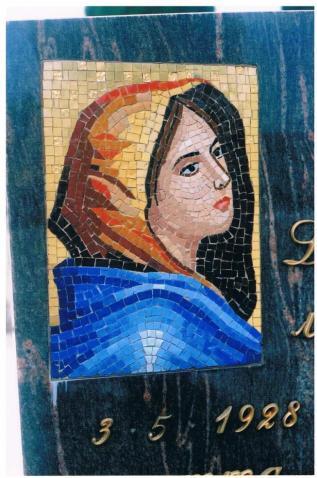 A modern mosaic on a memorial. copyright Carole Tyrrell