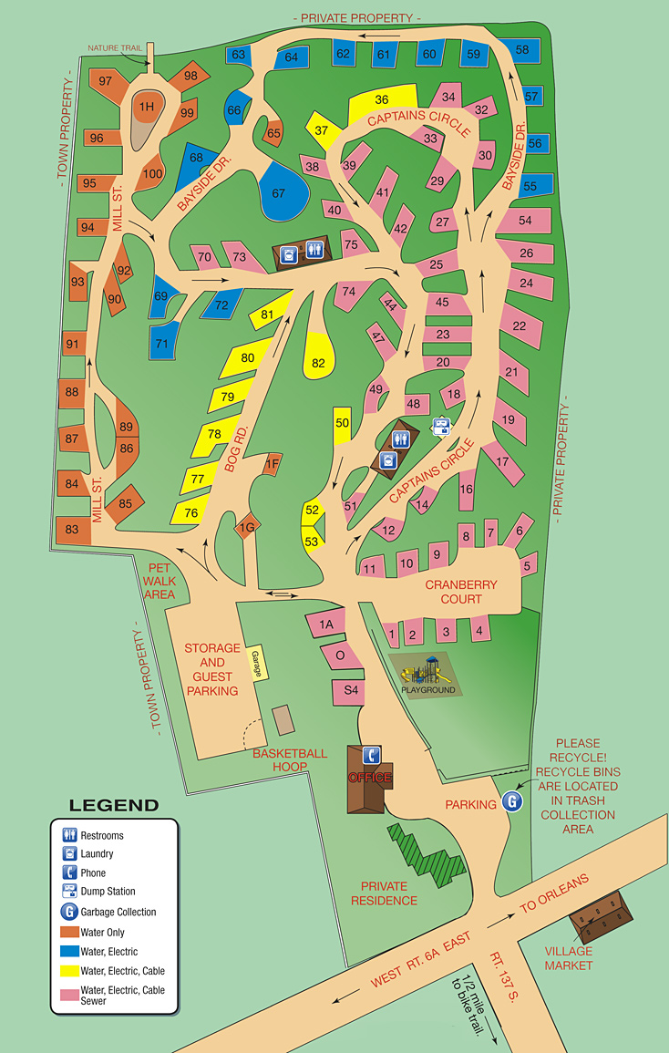 Shady Knoll Campground Brewster MA Site Map
