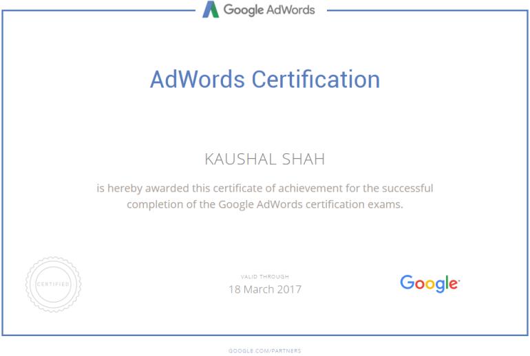 Google Adwords Individual Certification