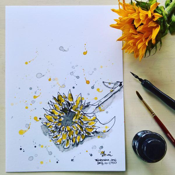 Sunflower Ink - Digital Art Print
