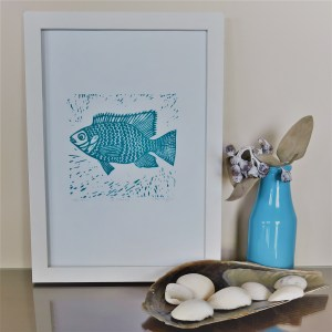 Fish - Linocut Block Print - Original Art