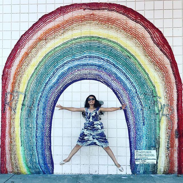 Those LA walls! 👻 #jump #rainbow #rainbowwall #losangeles #california