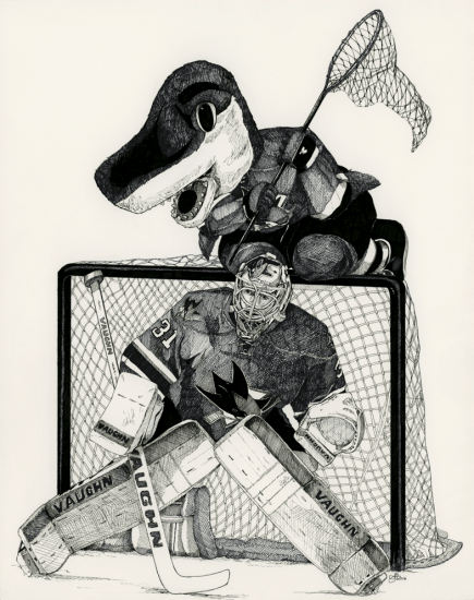 """Ready for the Catch, Microns on Paper, 11x14"""", 2016"""