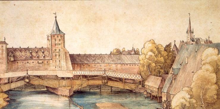 Dry dock at Hallertürlein, Nuremberg - Watercolor Painting