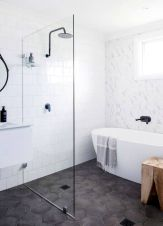 70+ Tiles Ideas for Small Bathroom - Get more Ideas in our gallery | #smallbathroom #bathroomdecoration #bathroomideas #bathroomtiles #bathroomdecor #homedecor (21)
