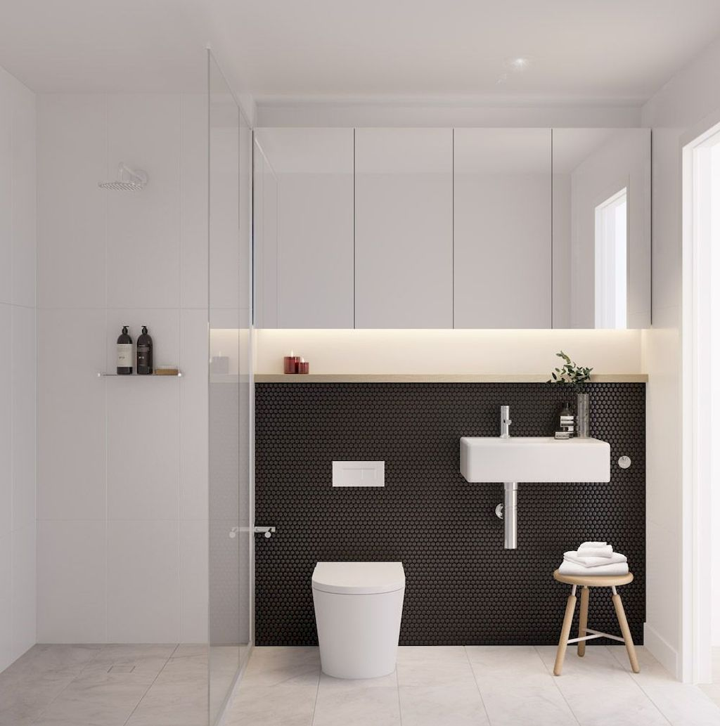 70+ Tiles Ideas for Small Bathroom - Get more Ideas in our gallery | #smallbathroom #bathroomdecoration #bathroomideas #bathroomtiles #bathroomdecor #homedecor (59)