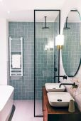 70+ Tiles Ideas for Small Bathroom - Get more Ideas in our gallery | #smallbathroom #bathroomdecoration #bathroomideas #bathroomtiles #bathroomdecor #homedecor (71)