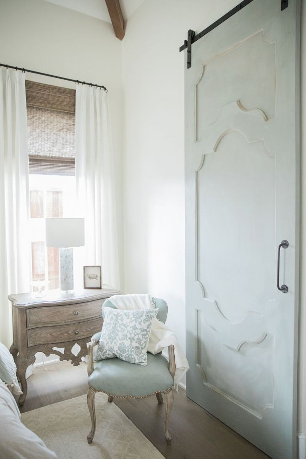 Barn style sliding doors applied as bedroom doors showing a rustic accent in the modern country homes Image 17