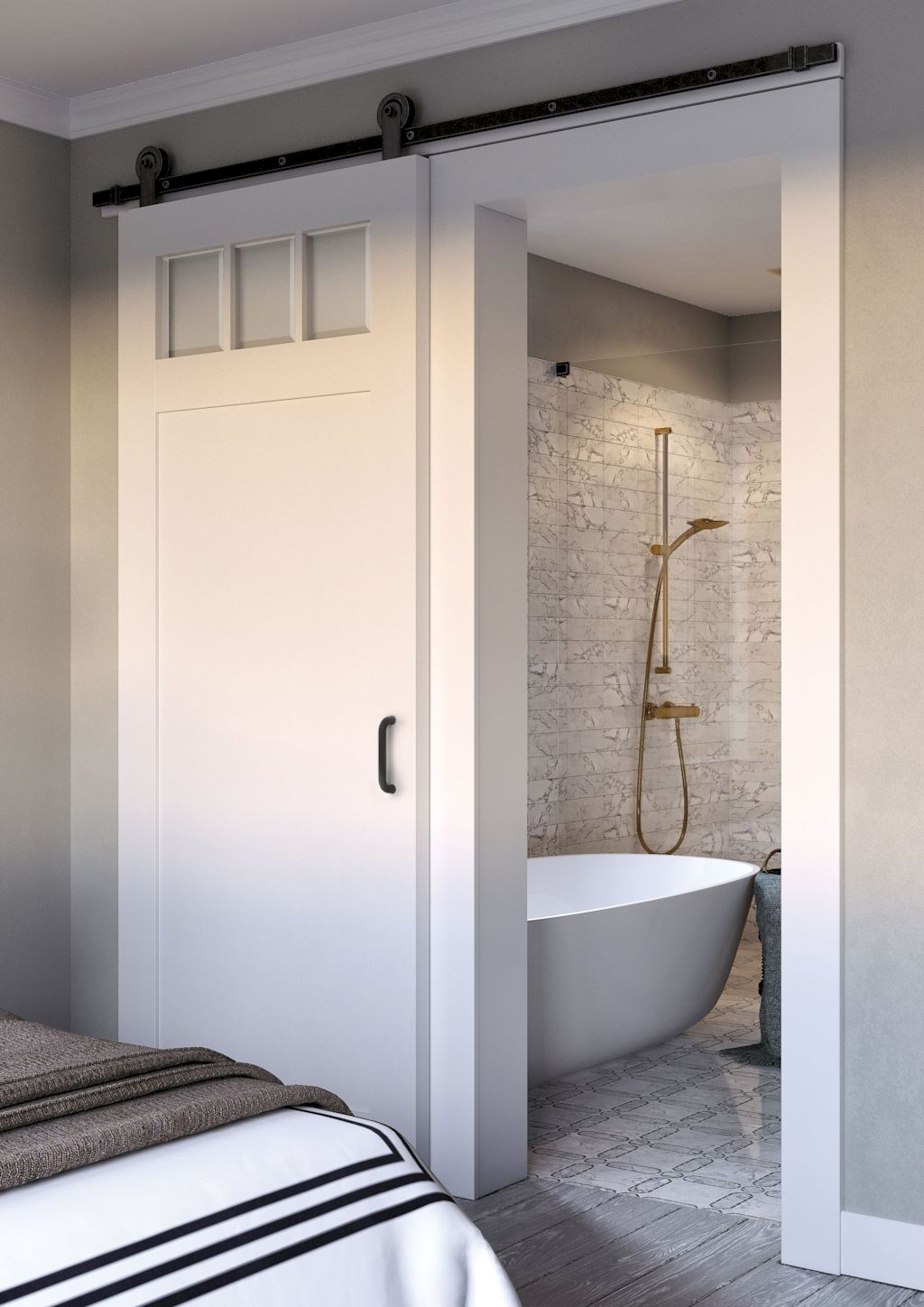 Barn style sliding doors applied as bedroom doors showing a rustic accent in the modern country homes Image 28