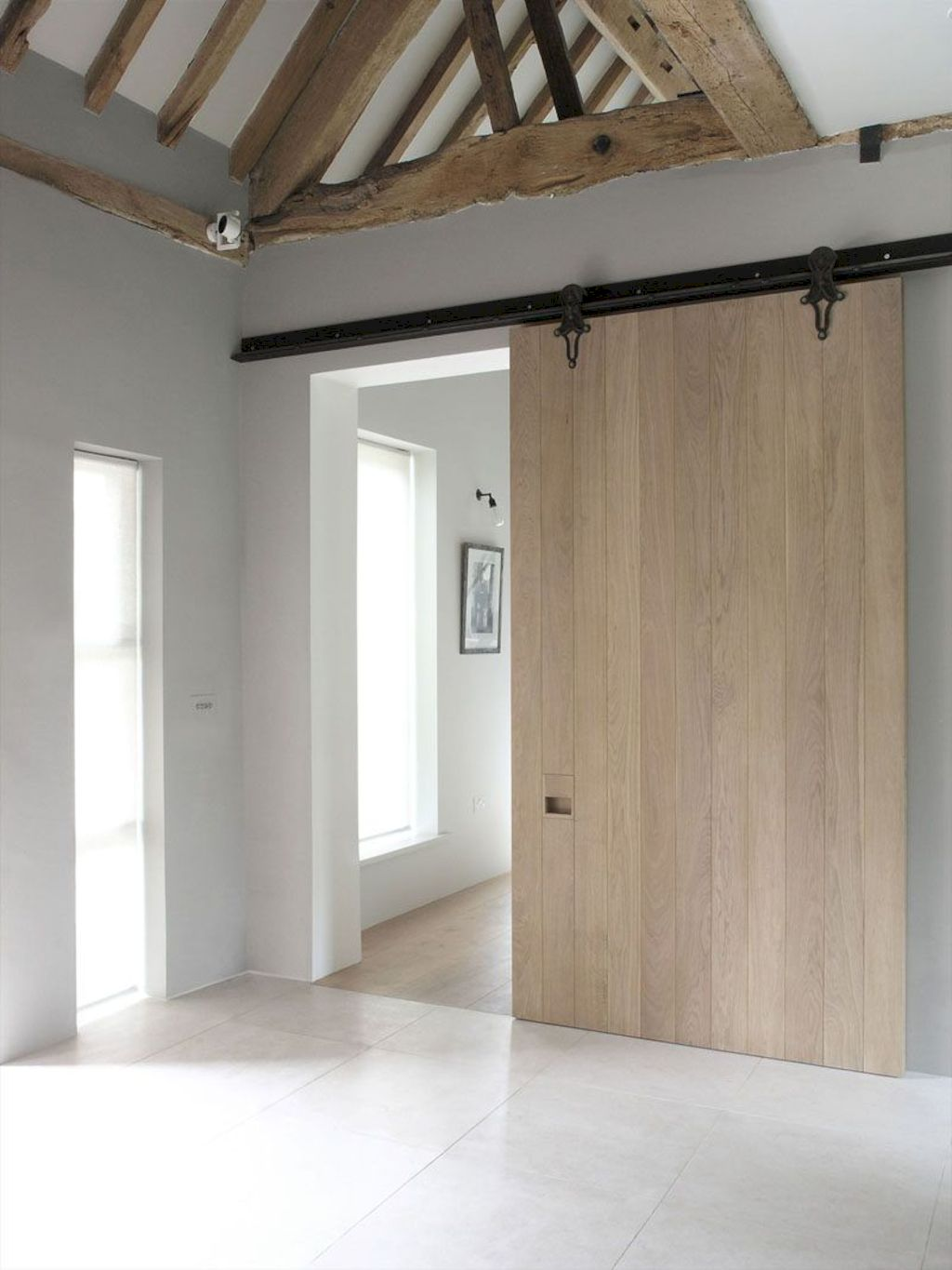 Barn style sliding doors designed for modern rustic home look lovely with traditional finish Image 3