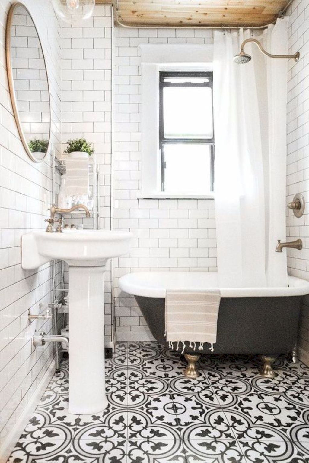 Beautiful bathroom update with eclectic patterned tiles and ethnic rugs very efficient to improve bathroom floor design Image 17
