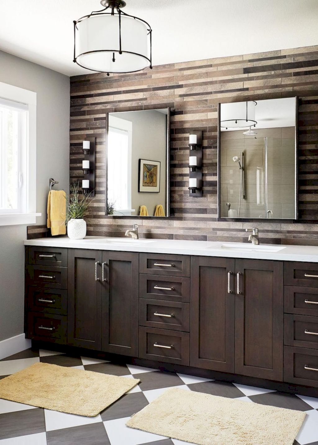 Beautiful bathroom update with eclectic patterned tiles and ethnic rugs very efficient to improve bathroom floor design Image 23