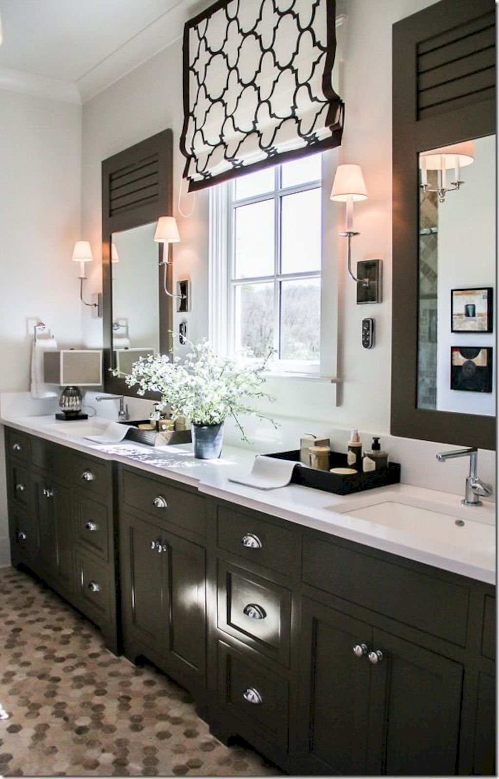 Beautiful bathroom update with eclectic patterned tiles and ethnic rugs very efficient to improve bathroom floor design Image 30