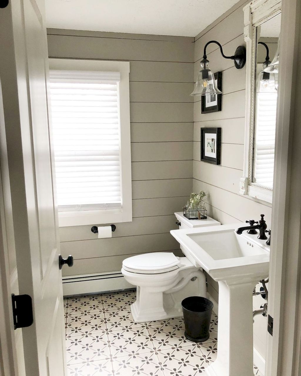 Beautiful bathroom update with eclectic patterned tiles and ethnic rugs very efficient to improve bathroom floor design Image 8