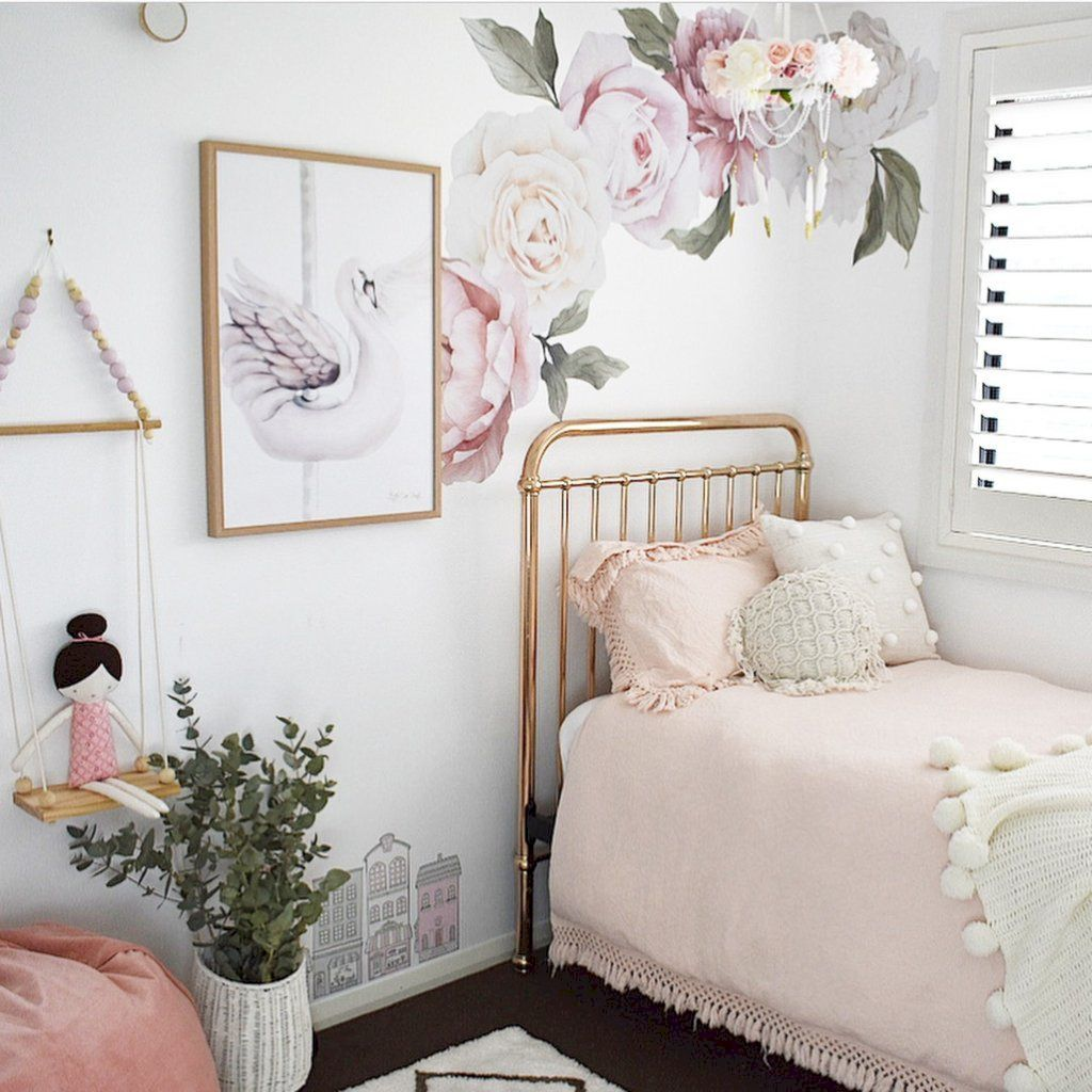 Beautiful wall decal stickers art for nursery and kids room decor with watercolor floral style showing off vintage baby room vibes Image 14
