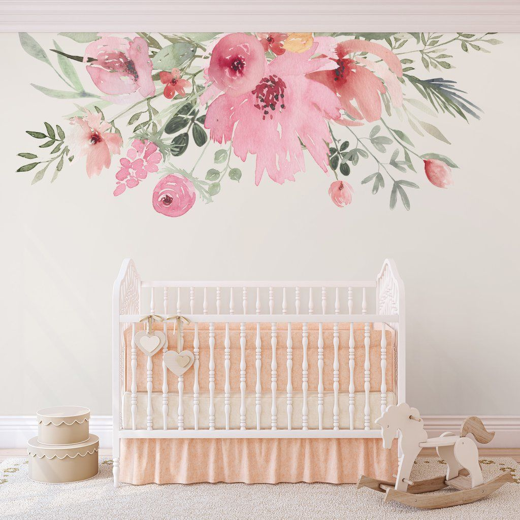 Beautiful wall decal stickers art for nursery and kids room decor with watercolor floral style showing off vintage baby room vibes Image 6