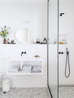 Creative bathroom updates mixing modern trend with simple 60s terrazzo style giving a brilliant contemporary balance Image 21