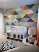 Excellent idea for kids and nursery rooms with geometric walls loaded with triangles rich tones and modern accent style Image 5