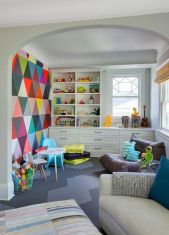 Excellent idea for kids and nursery rooms with geometric walls loaded with triangles rich tones and modern accent style Image 8
