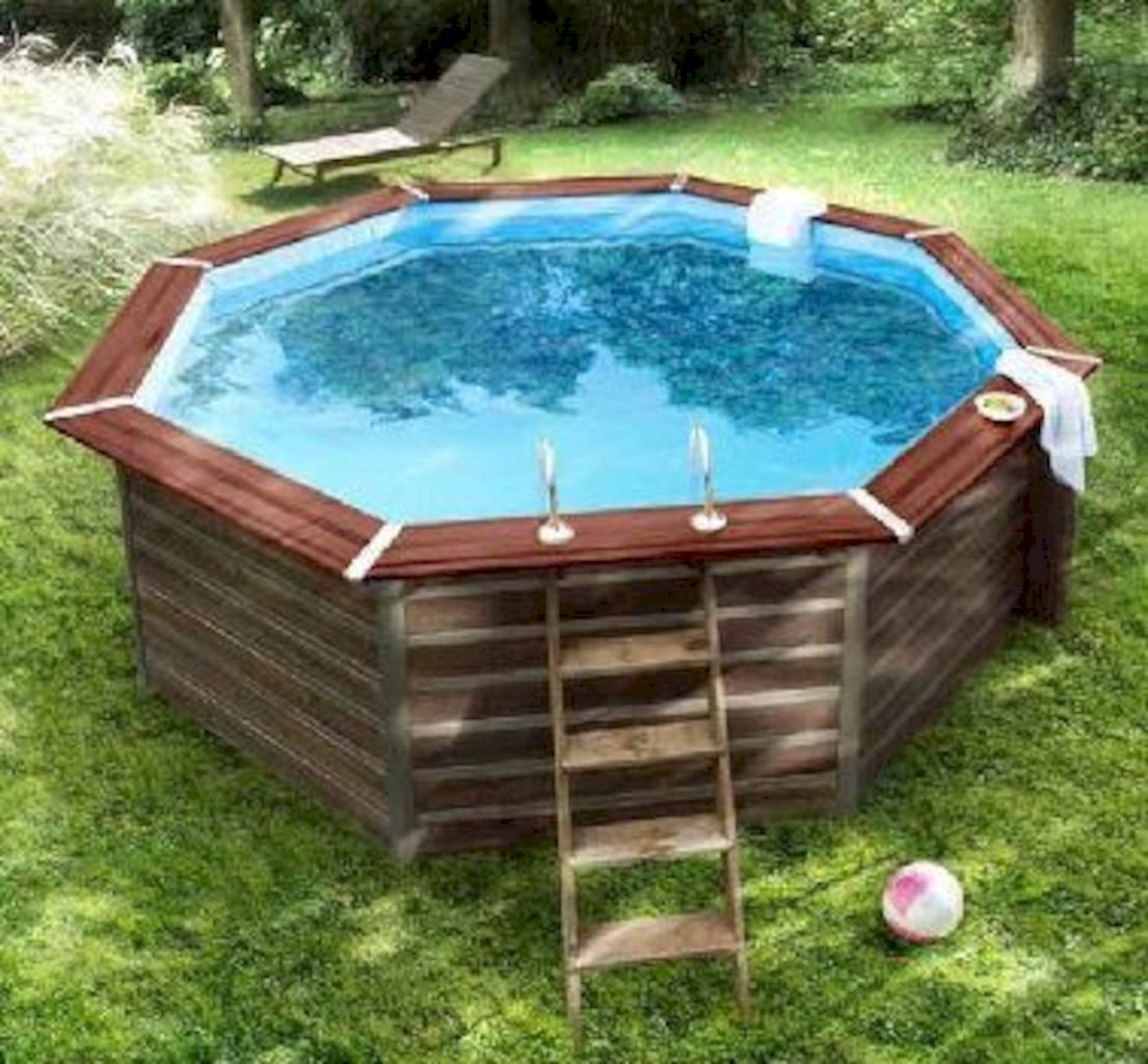 Simple pool designs built above ground designed with cheap materials for simple outdoor relieves Image 12