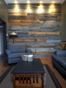 Smart interior upgrade showing wood pallets wall accent that looks amazing in a modern home which includes traditional and rustic element mixing Image 37