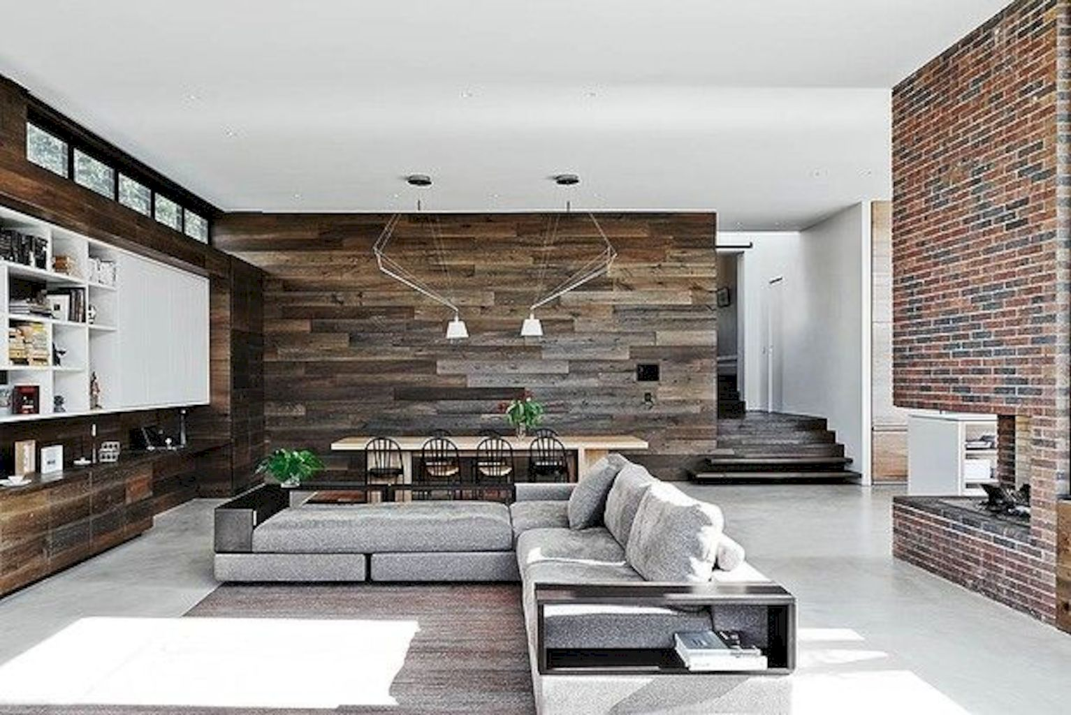 Smart interior upgrade showing wood pallets wall accent that looks amazing in a modern home which includes traditional and rustic element mixing Image 45