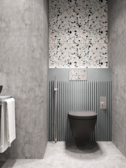 Terrazzo tiles used in bathroom renovation showing classical comeback that bring an artistic retro statement in your home Image 39