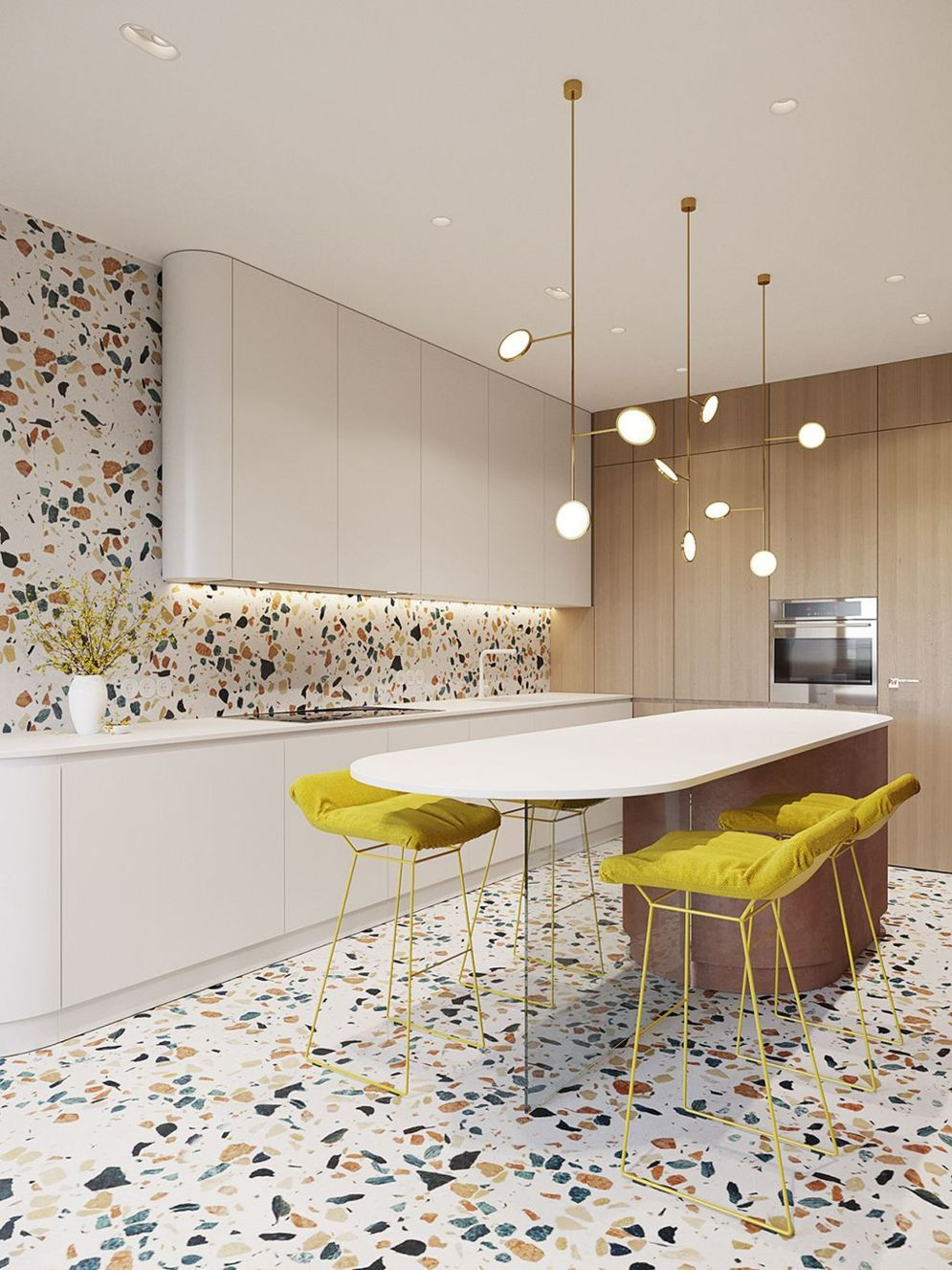 Amazing terrazzo decoration revival giving a cozy look in a warm and friendly interior scheme Image 11