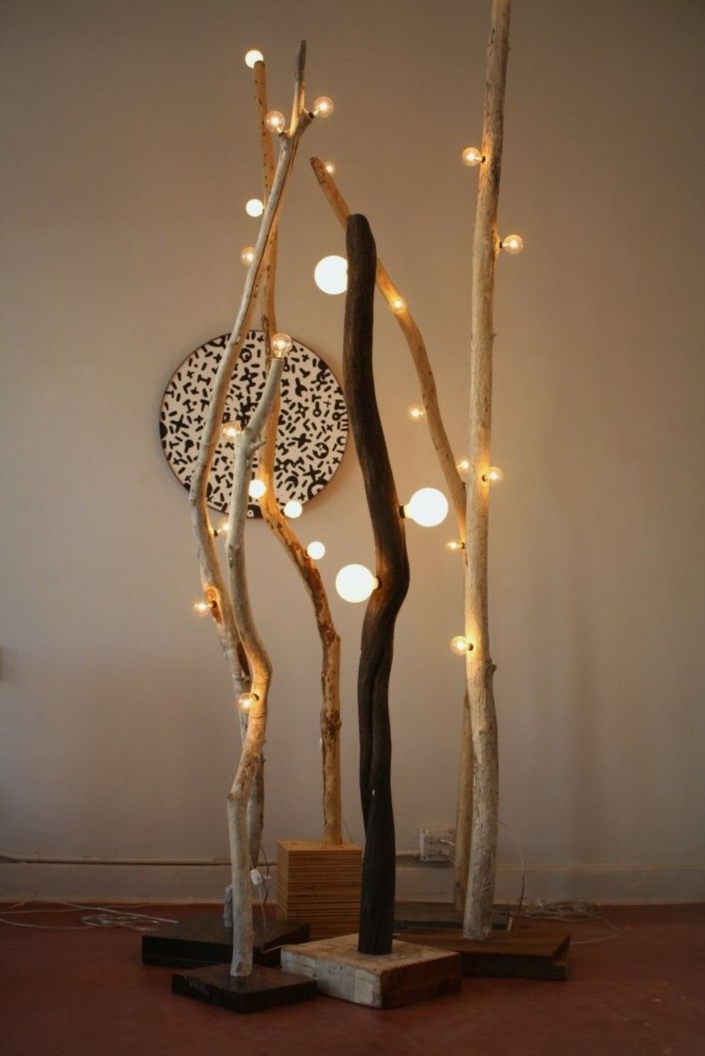 Awesome driftwood lamp stands giving authentic decoration in natural art style Image 5