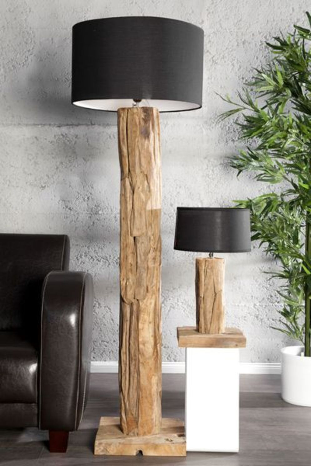 Awesome driftwood lamp stands giving authentic decoration in natural art style Image 9