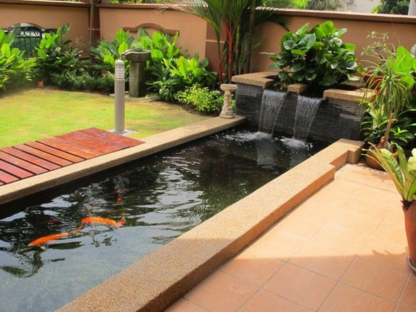 Clever exterior update showing different fresh fish pond designs Image 23