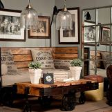 Expressive interior display in multilayering textures and colors showing artsy interior schemes with retro and vintage accents Image 1