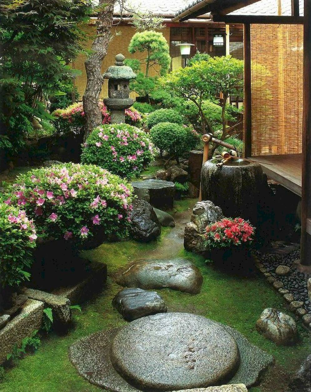 Green outdoor ideas with calming vibes from Zen garden style showing harmonious and balanced various natural elements Image 44