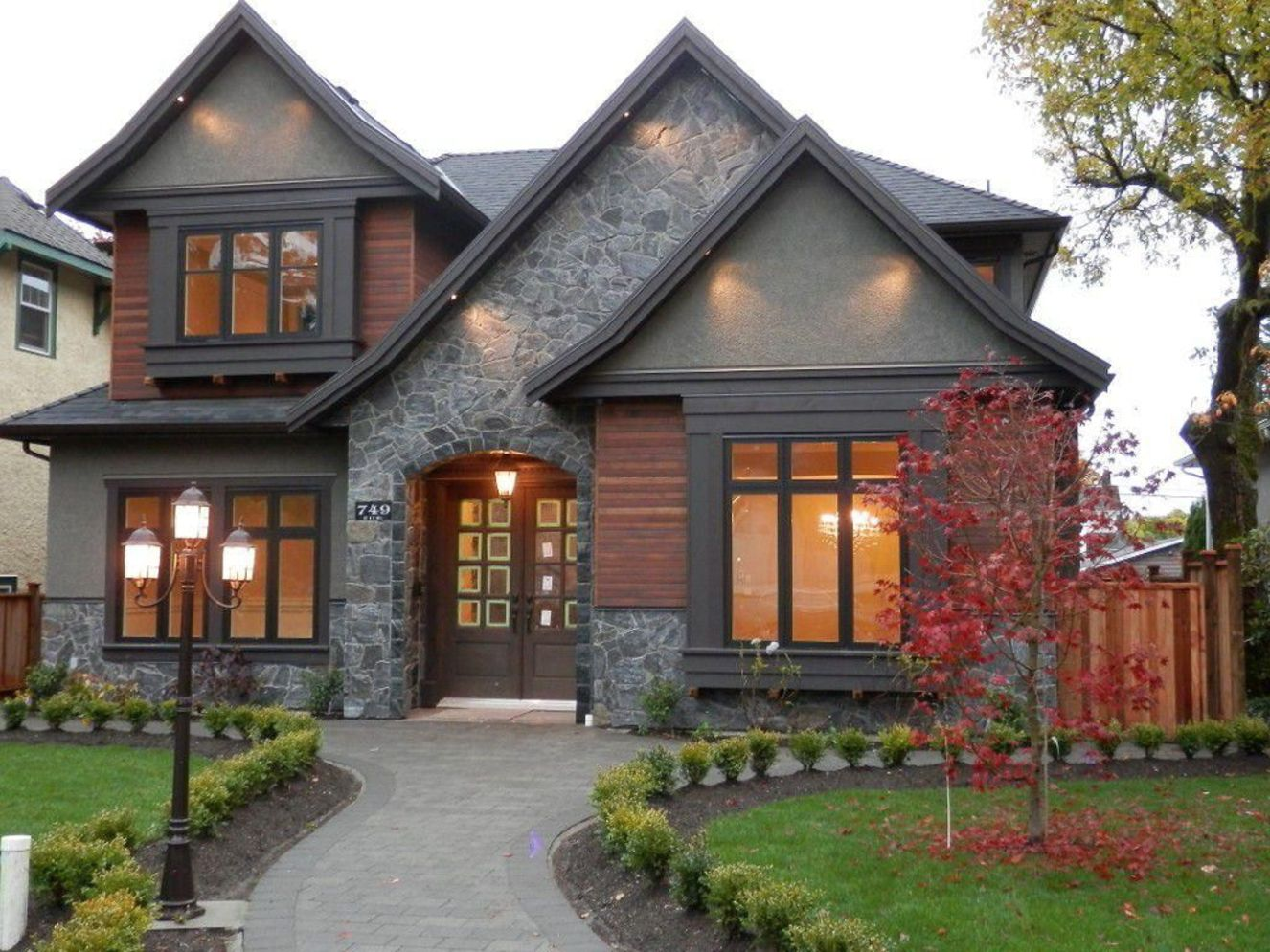 Modern house with new farmhouse exterior design pulling out country charm and warm welcoming display Image 29