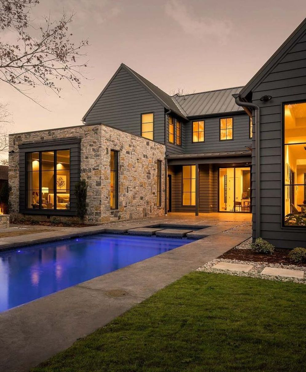 Modern house with new farmhouse exterior design pulling out country charm and warm welcoming display Image 31