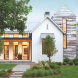 Modern house with new farmhouse exterior design pulling out country charm and warm welcoming display Image 36