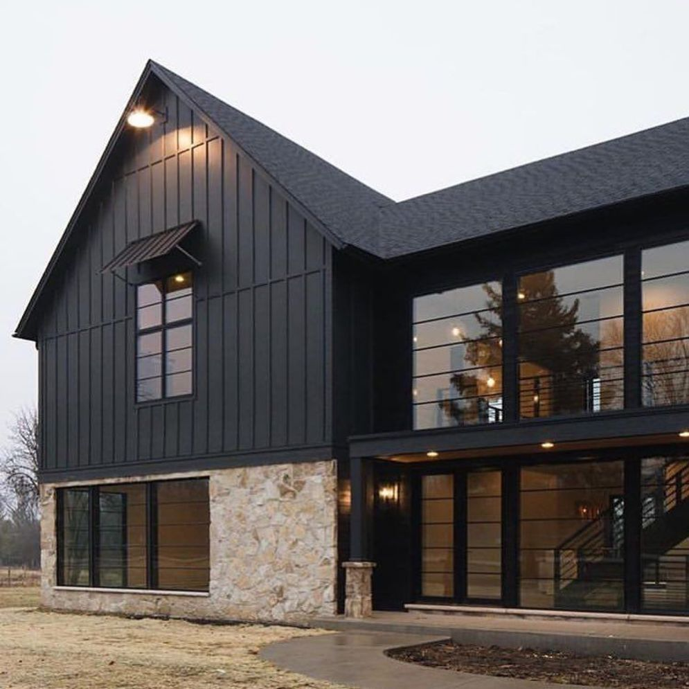 Modern house with new farmhouse exterior design pulling out country charm and warm welcoming display Image 37