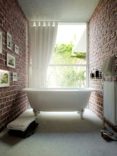 Modern rustic bathroom styles showing amazing viewpoint of brick wall decoration Image 24
