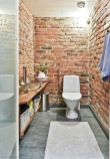 Modern rustic bathroom styles showing amazing viewpoint of brick wall decoration Image 27