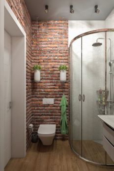Modern rustic bathroom styles showing amazing viewpoint of brick wall decoration Image 29