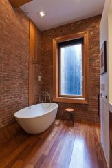 Modern rustic bathroom styles showing amazing viewpoint of brick wall decoration Image 36