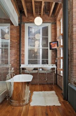 Modern rustic bathroom styles showing amazing viewpoint of brick wall decoration Image 43