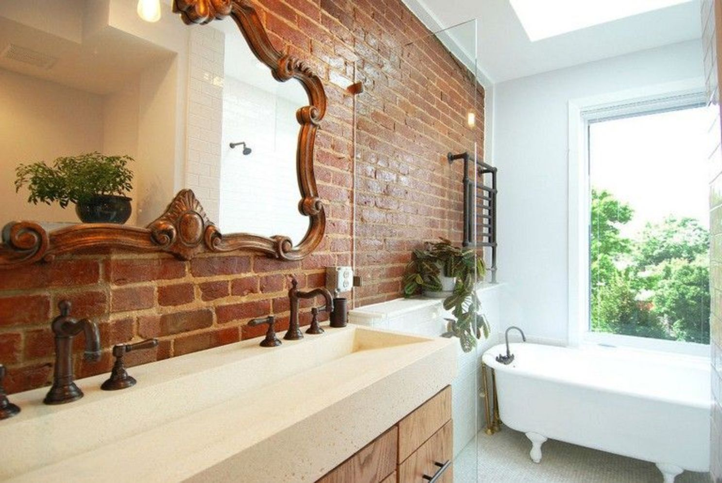 Modern rustic bathroom styles showing amazing viewpoint of brick wall decoration Image 44