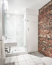 Modern rustic bathroom styles showing amazing viewpoint of brick wall decoration Image 45
