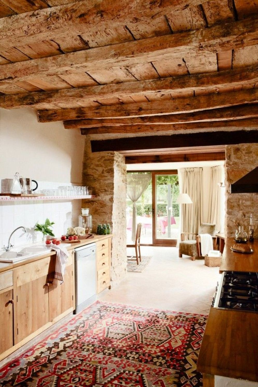 Rustic cabin kitchen designs showing warm wooden structure in earthy natural palettes Image 22