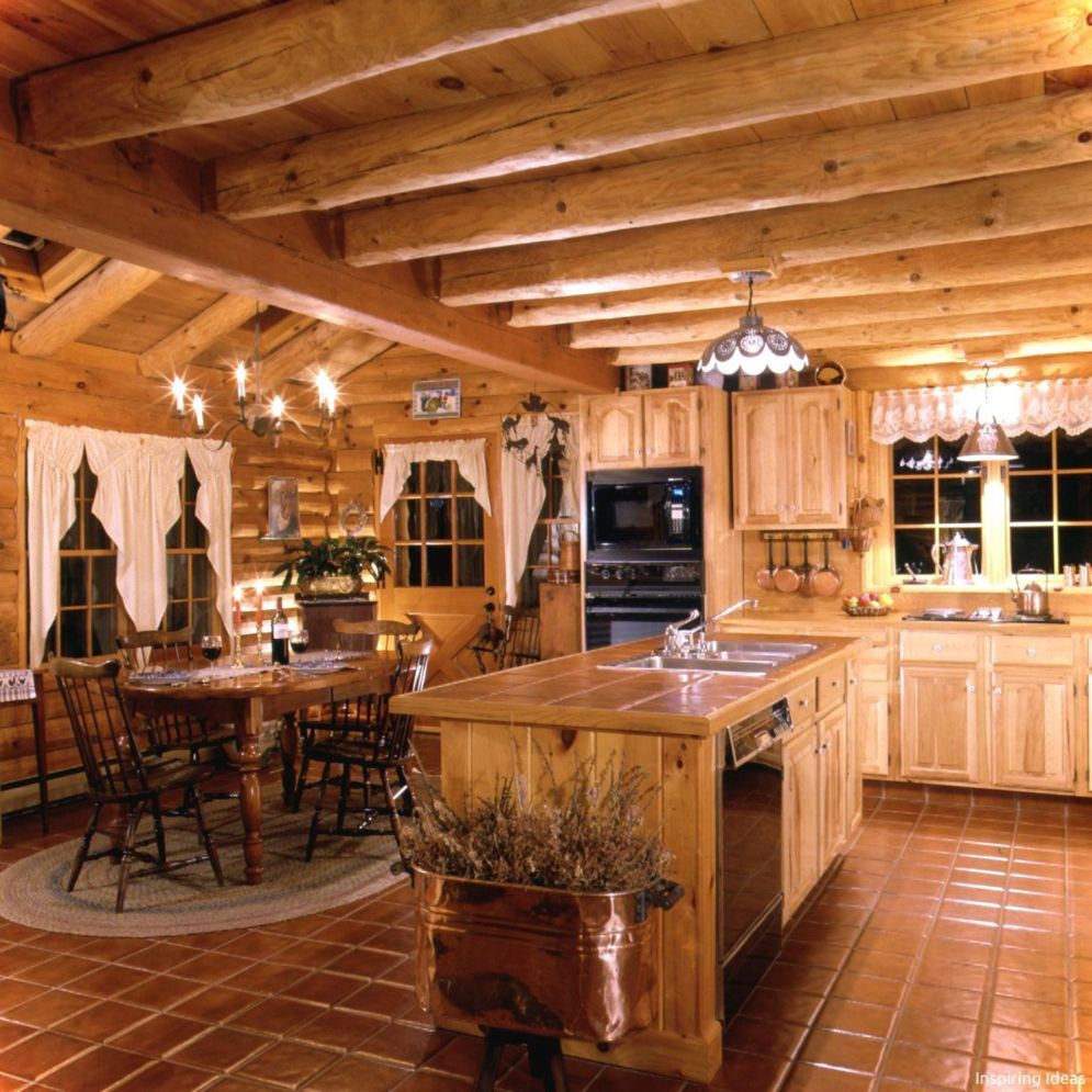 Warm and friendly cabin kitchen displaying rustic interior styles providing ideal space for a perfect retreat Image 43