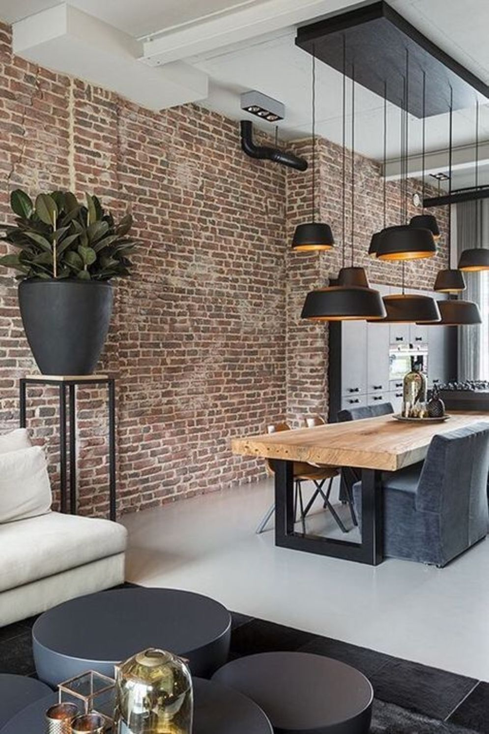 Wonderful interior statement brick wall improving interior display with modern rustic combination Image 37