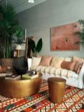 Artful interior style showcasing eclectic Bohemian display with ethnic rugs as decoration Image 19