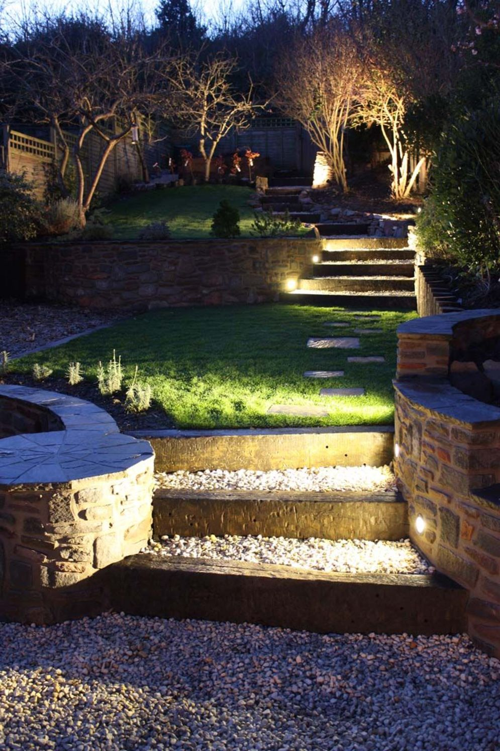 Lavish garden upgrade showing beautiful outdoor light schemes that liven up the landscape view Image 34