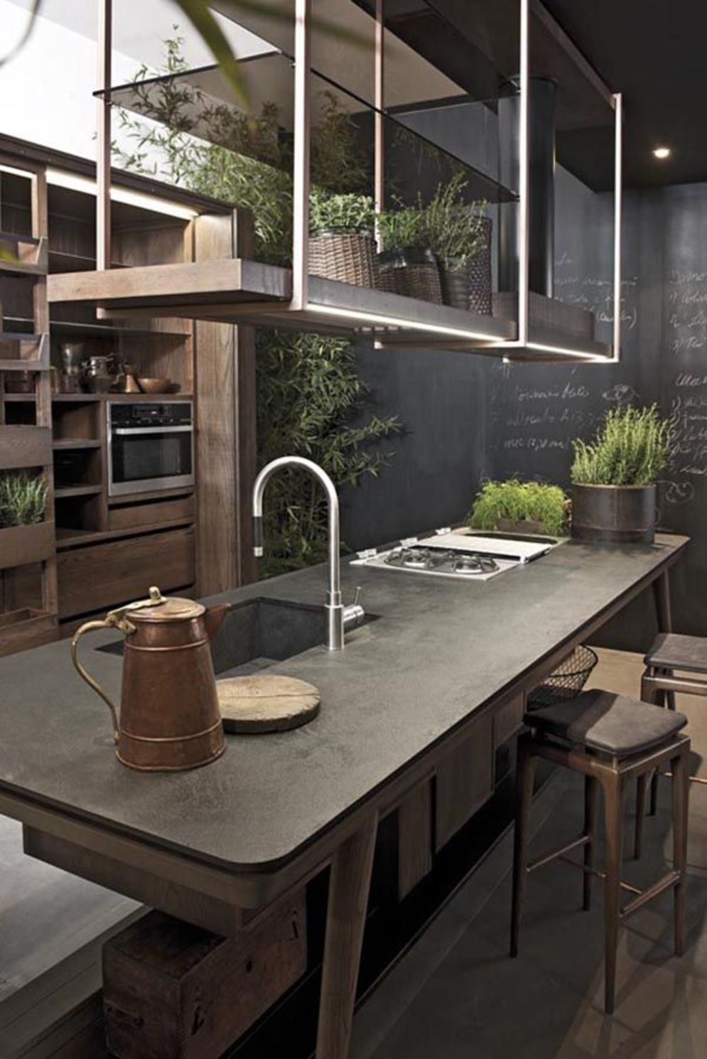 Modern kitchen updates using efficient concrete benchtops to show sturdier interior display Image 22